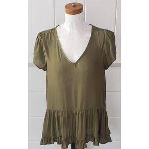 Ro & De olive green ruffle blouse